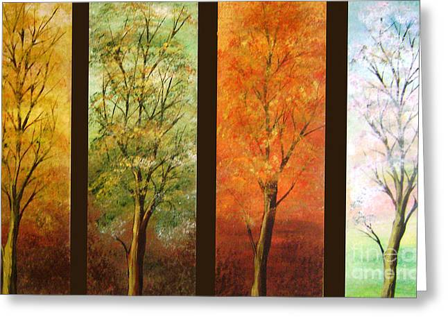 Print On Canvas Greeting Cards - Four Seasons With Seporation Greeting Card by Roni Ruth Palmer