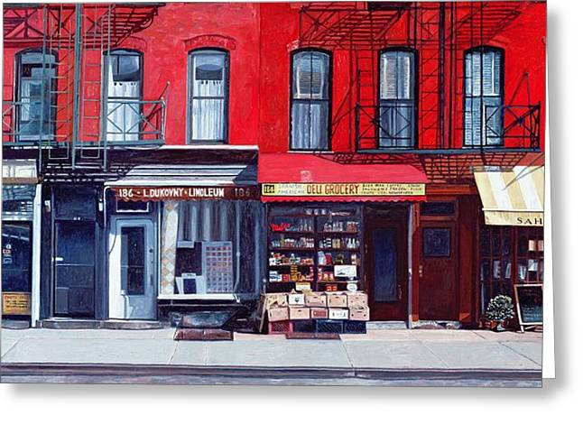 Fine Artworks Greeting Cards - Four shops on 11th Ave Greeting Card by Anthony Butera