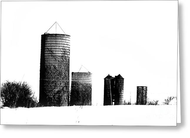 Farmers Field Greeting Cards - Four Silos Greeting Card by Marcia Lee Jones