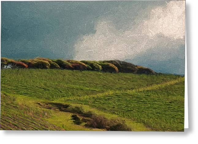 Vineyard Landscape Mixed Media Greeting Cards - Four Square Greeting Card by John K Woodruff