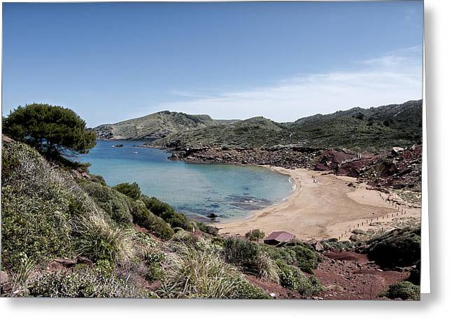 Blue Green Lonelyness Greeting Cards - four steps to paradise - Cala Pilar Menorca in Balearic island Greeting Card by Pedro Cardona