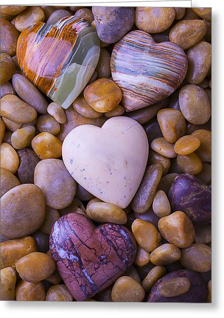 Valentines Day Greeting Cards - Four Stone hearts Greeting Card by Garry Gay