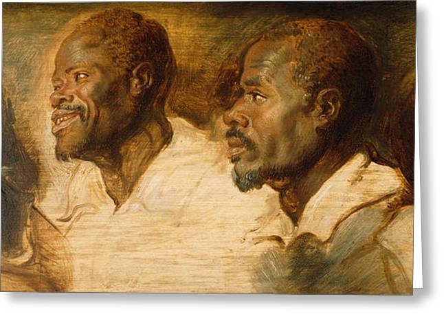 Black Man Paintings Greeting Cards - Four Studies of Male Head Greeting Card by Peter Paul Rubens