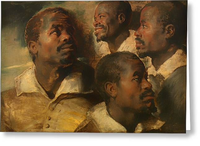 Mustache Greeting Cards - Four Studies of the Head of a Moor Greeting Card by Peter Rubens