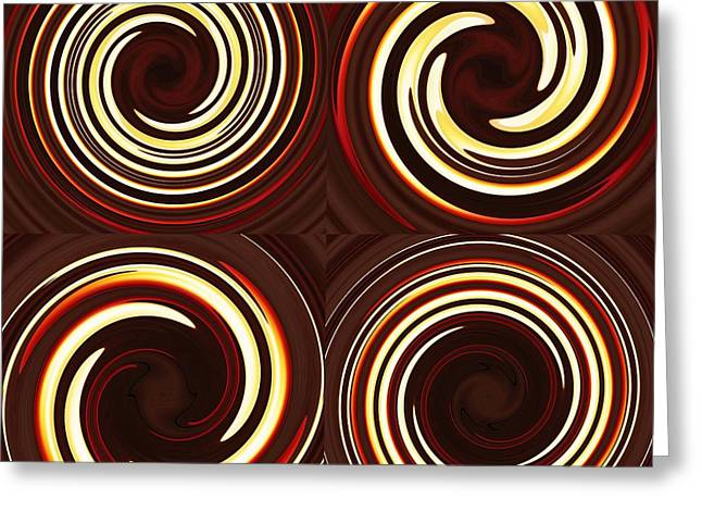 Sarah Loft Greeting Cards - Four Swirls on Brown Greeting Card by Sarah Loft