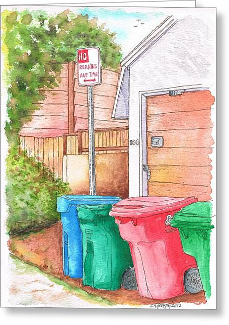 Architecrure Greeting Cards - Four trash cans in Venice Beach - California Greeting Card by Carlos G Groppa