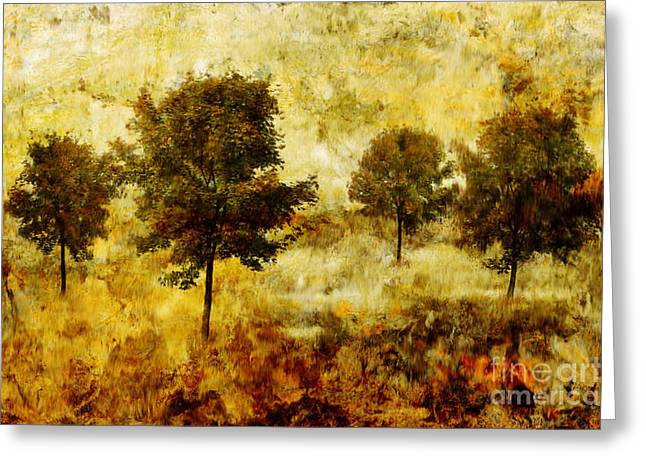 Colorful Trees Digital Greeting Cards - Four Trees Greeting Card by John Edwards
