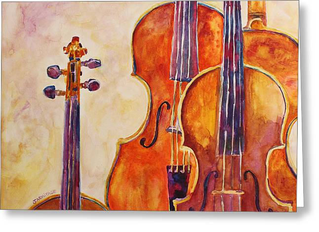 Four Violins Greeting Card by Jenny Armitage
