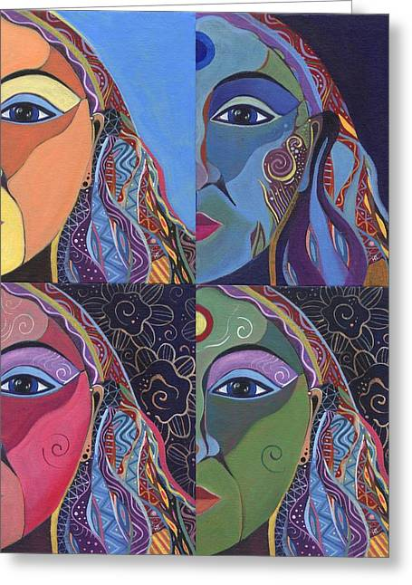 Transformation Of Being Greeting Cards - Four Ways Greeting Card by Helena Tiainen