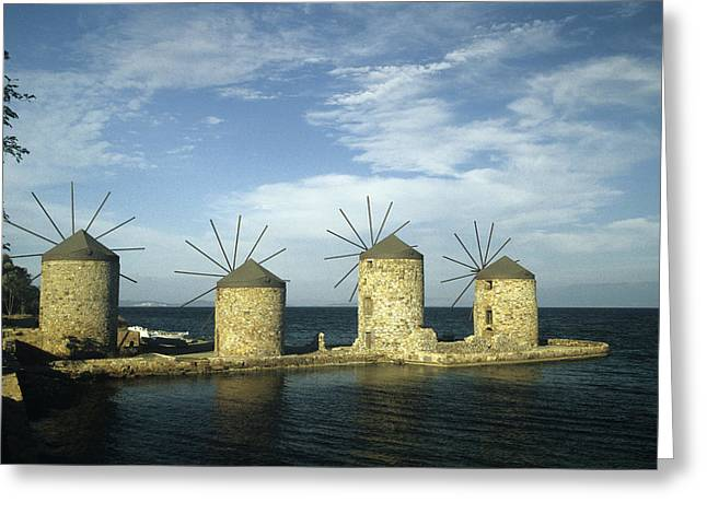 Grist Mill Greeting Cards - Four windmills of Chios Greeting Card by Jim  Wallace