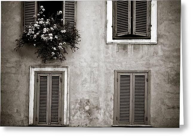 Four Windows Greeting Card by Dave Bowman