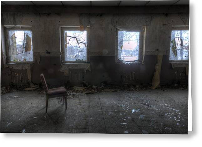 Creepy Digital Art Greeting Cards - Four windows Greeting Card by Nathan Wright