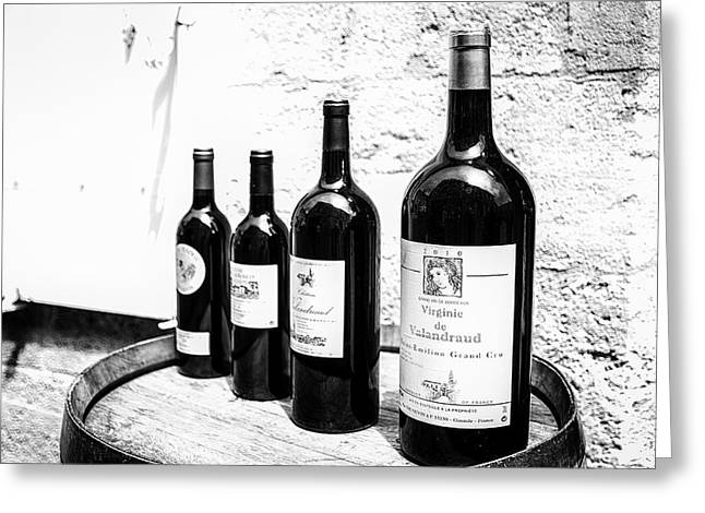 Wine Shop Greeting Cards - Four Wine Bottles Greeting Card by Nomad Art And  Design
