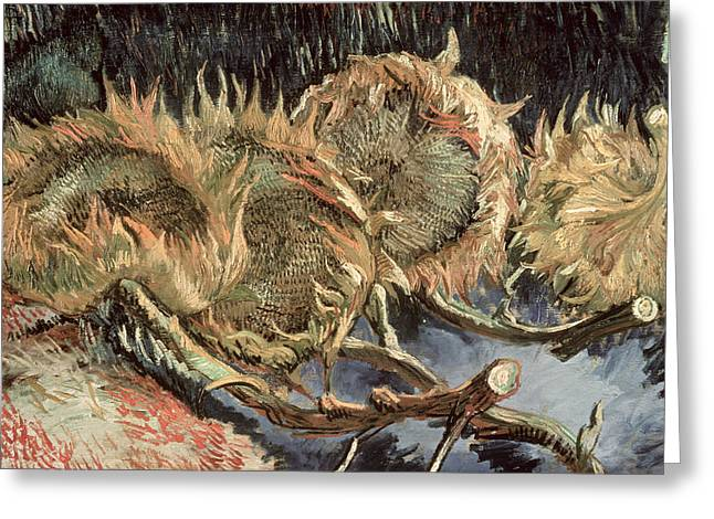 Gogh; Vincent Van Flowers Greeting Cards - Four Withered Sunflowers Greeting Card by Vincent van Gogh