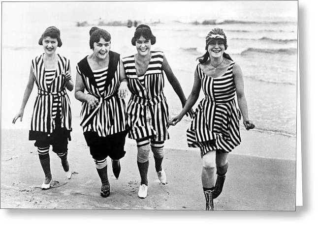 Four Women In 1910 Beach Wear Greeting Card by Underwood Archives