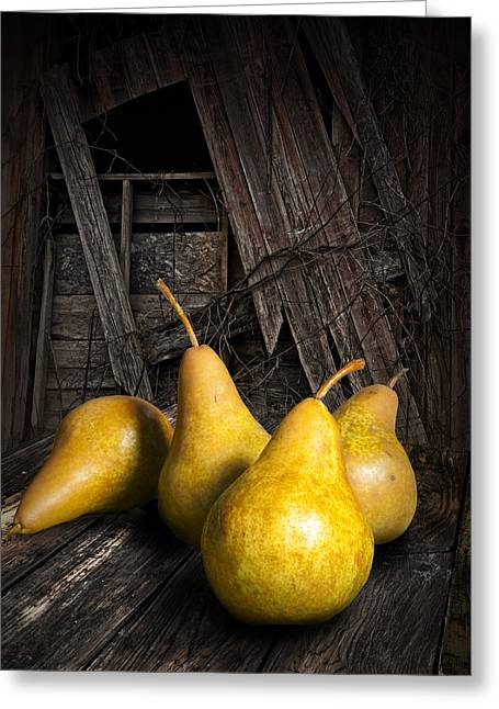 Pear Art Greeting Cards - Four Yellow Pears Greeting Card by Randall Nyhof