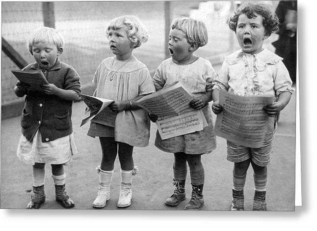 Four Young Children Singing Greeting Card by Underwood Archives