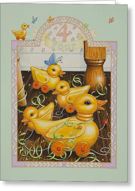 Pull Paintings Greeting Cards - Fourth Birthday Greeting Card by Lynn Bywaters