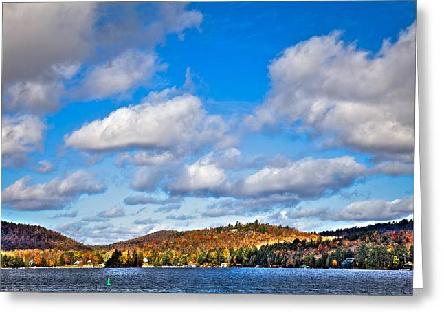 Fir Trees Greeting Cards - Fourth Lake in Inlet New York Greeting Card by David Patterson