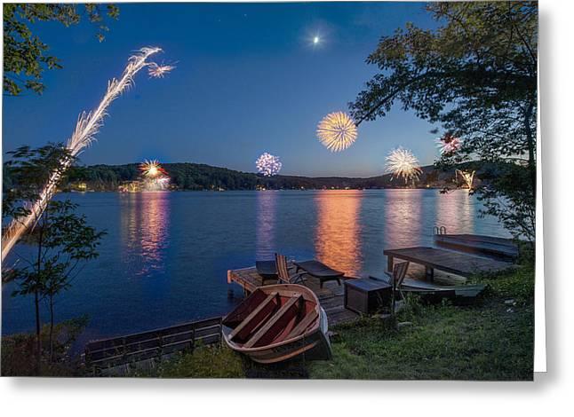 Quaker Greeting Cards - Fourth of July at the Lake Greeting Card by Kirk Van Zandbergen