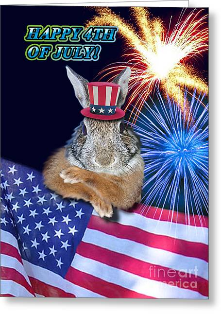 Wildlife Celebration Greeting Cards - Fourth of July Bunny Rabbit Greeting Card by Jeanette K