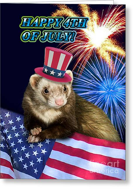 Wildlife Celebration Greeting Cards - Fourth of July Ferret Greeting Card by Jeanette K