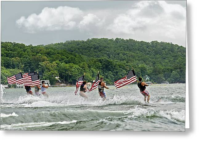 Fourth of July Water Skiers Greeting Card by Susan Leggett