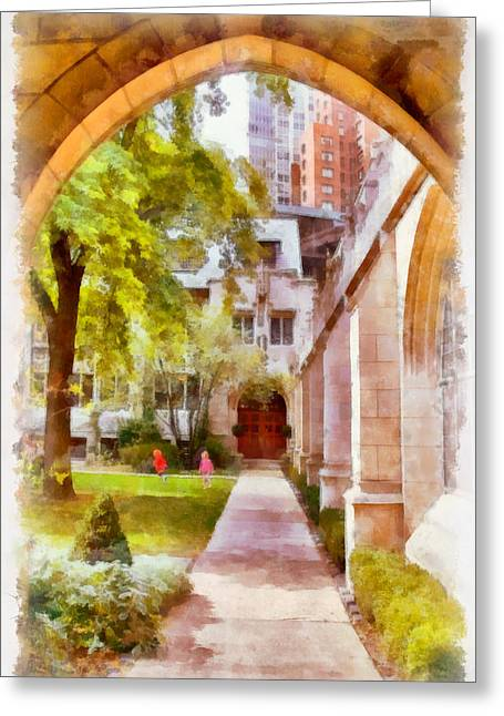 Patio Greeting Cards - Fourth Presbyterian - A Chicago sanctuary Greeting Card by Christine Till