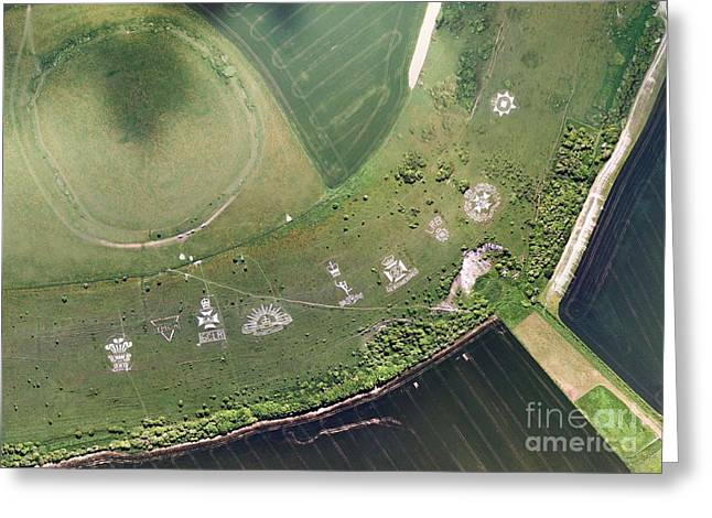 1st Corps Greeting Cards - Fovant Badges, Aerial Photograph Greeting Card by Getmapping Plc