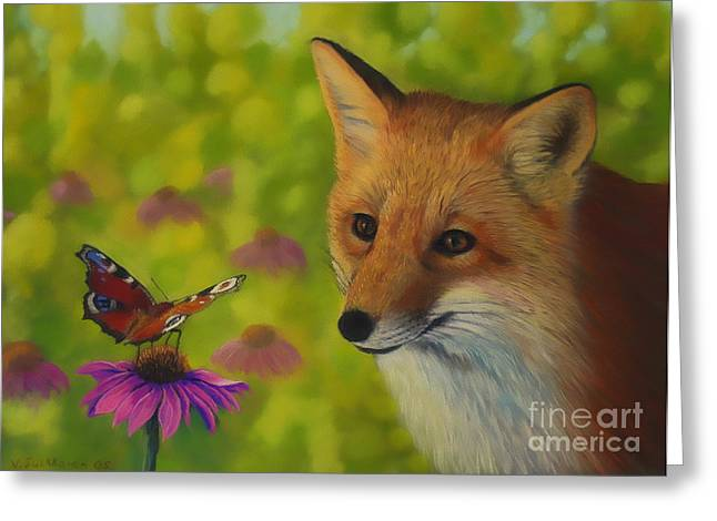 Colorful Pastels Greeting Cards - Fox and butterfly Greeting Card by Veikko Suikkanen