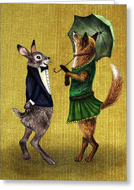 Illustations Greeting Cards - Fox and Hare Greeting Card by Anna Shell