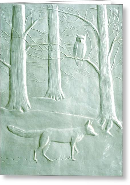 Print Reliefs Greeting Cards - Fox and Owl in the Winter Woods Greeting Card by Deborah Dendler