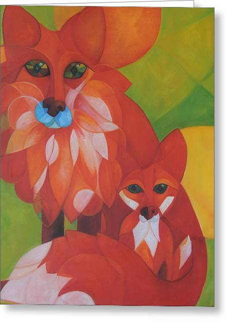 Fox Kit Paintings Greeting Cards - Fox Haven Greeting Card by Denise Fisher