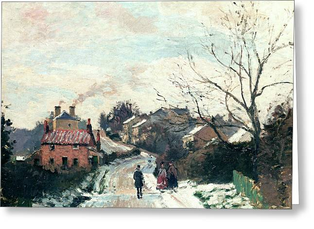 Snow-covered Landscape Greeting Cards - Fox Hill Upper Norwood Greeting Card by Camille Pissarro