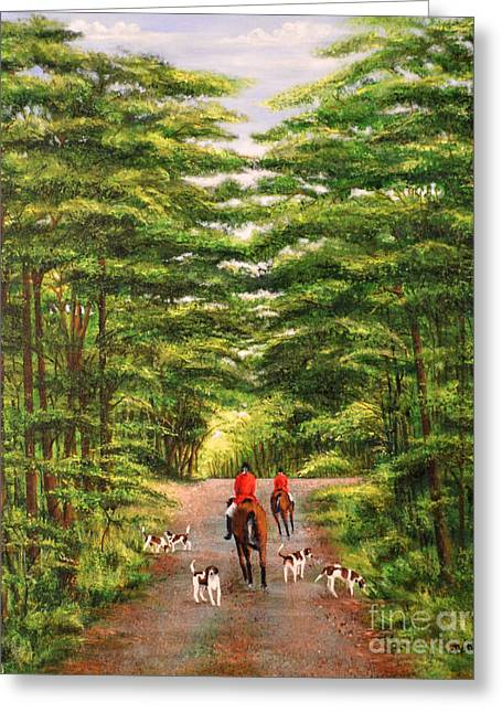 Foxhunting Greeting Cards - Fox Hunt in Pawhatan Greeting Card by Claudine Pond
