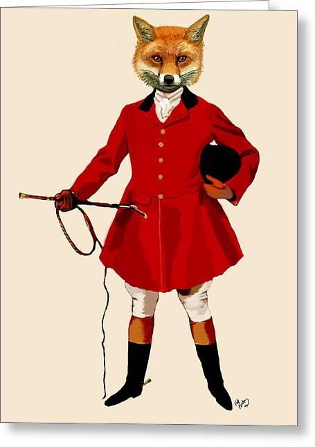 Smart Digital Art Greeting Cards - Fox Hunter 2 Full Greeting Card by Kelly McLaughlan