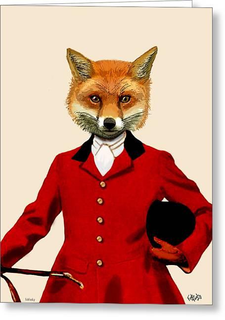 Smart Digital Art Greeting Cards - Fox Hunter 2 Portrait Greeting Card by Kelly McLaughlan