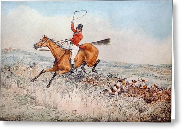 Ho Ho Ho Greeting Cards - Fox Hunting, 1837 Wc Greeting Card by Henry Thomas Alken