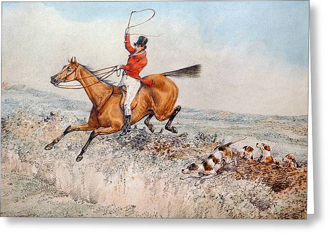 Sporting Dog Greeting Cards - Fox hunting Greeting Card by Henry Thomas Alken