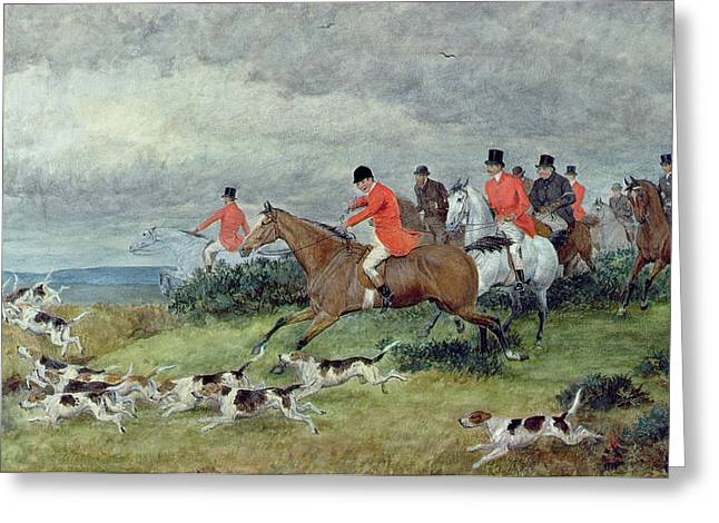 Hound Hounds Greeting Cards - Fox Hunting in Surrey Greeting Card by Randolph