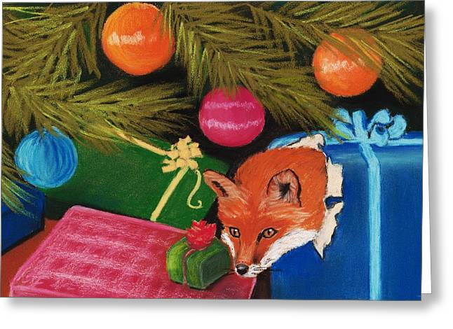 Christmas Pastels Greeting Cards - Fox in a Box Greeting Card by Anastasiya Malakhova