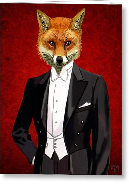 Evening Dress Digital Art Greeting Cards - Fox in a evening Suit Greeting Card by Kelly McLaughlan
