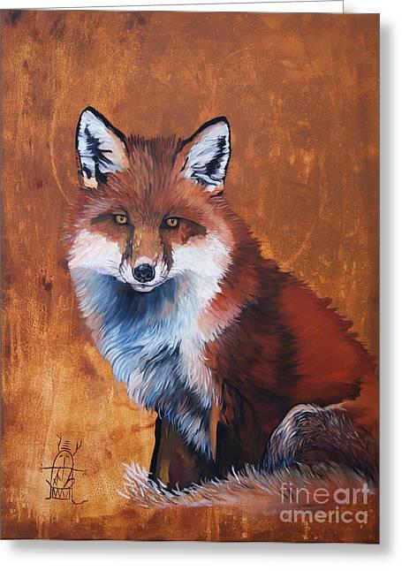 Fox Greeting Card by J W Baker