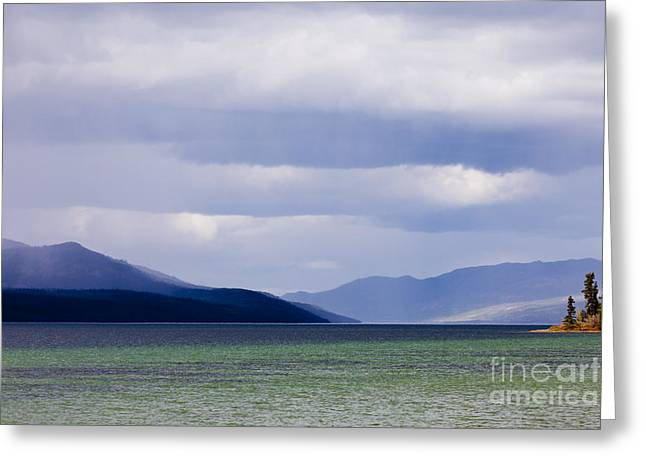 Summer Squall Greeting Cards - Fox Lake dark rain clouds Yukon Territory Canada Greeting Card by Stephan Pietzko