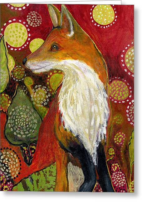 Recently Sold -  - Green Abstract Greeting Cards - Fox Listens Greeting Card by Jennifer Lommers