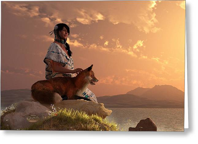 Spirit Guides Greeting Cards - Fox Maiden Greeting Card by Daniel Eskridge