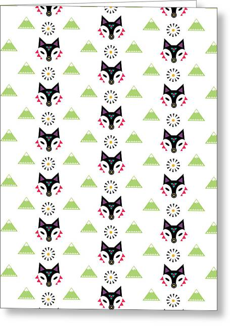 Geometric Animal Greeting Cards - Fox Mountain Greeting Card by Susan Claire