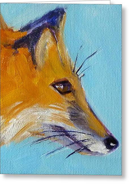 Reds Orange And Blue Greeting Cards - Fox Greeting Card by Nancy Merkle