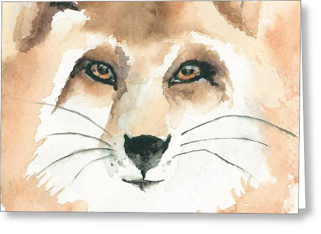 Fox Kit Paintings Greeting Cards - Fox Study 2 Greeting Card by Kimberly Lavelle