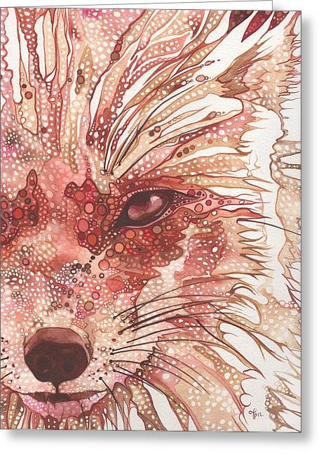 Crimson Greeting Cards - Fox Greeting Card by Tamara Phillips
